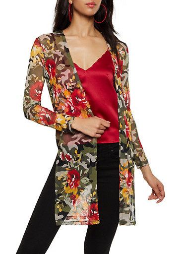 Floral Camo Mesh Duster,OLIVE,large