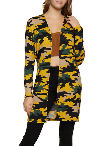 Soft Knit Camo Duster,OLIVE,large