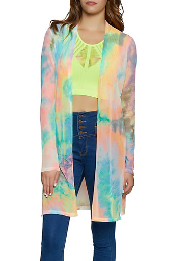 Tie Dye Mesh Duster,MULTI COLOR,large