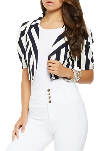 Striped Cropped Blazer,NAVY,large