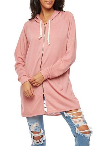 Slashed Back Zip Up Tunic Sweatshirt,BLUSH,large