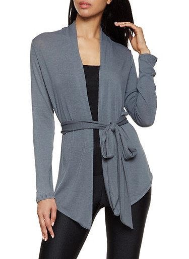 Long Sleeve Tie Waist Cardigan,SILVER,large