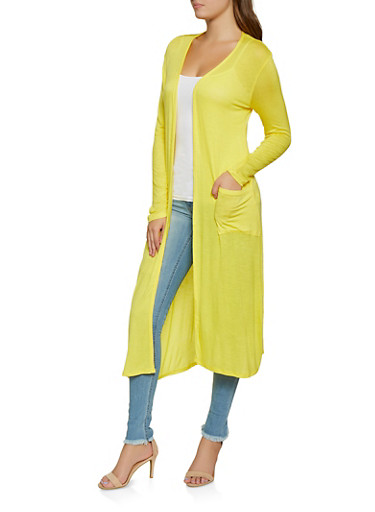 Two Pocket Lightweight Duster,MUSTARD,large