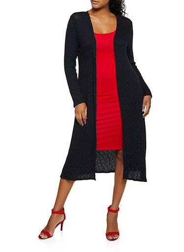 Long Sleeve Ribbed Knit Duster,BLACK,large