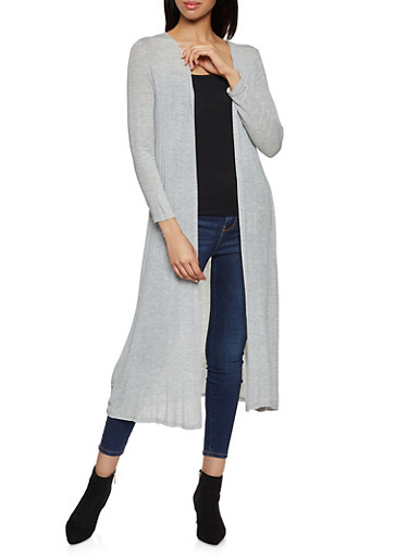 Long Sleeve Duster,HEATHER,large