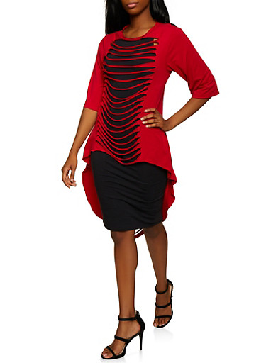 Slashed Maxi Top,RED,large