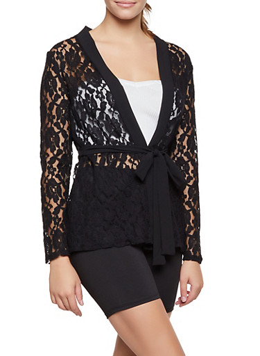 Long Sleeve Lace Belted Duster,BLACK,large