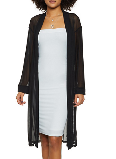 Mesh Long Sleeve Duster,BLACK,large