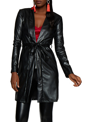 Belted Faux Leather Trench Coat,BLACK,large