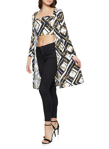 Printed Tube Top and Duster Set,BLACK,large