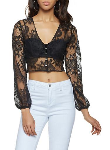 Lace Button Front Crop Top,BLACK,large