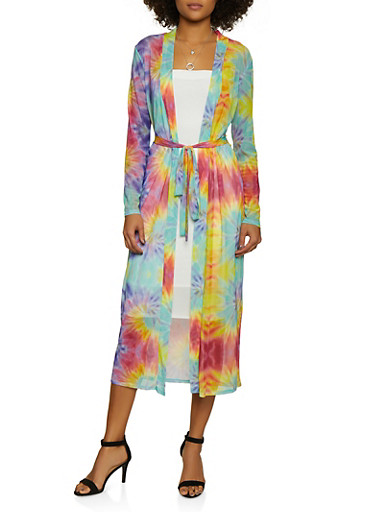 Belted Tie Dye Mesh Duster,MULTI COLOR,large