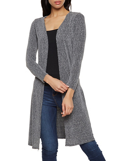 Long Sleeve Side Slit Rib Knit Duster,CHARCOAL,large