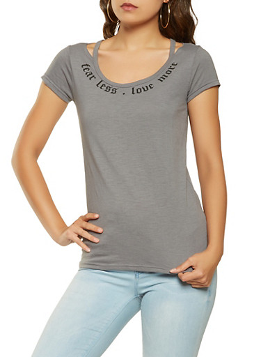 Graphic Cut Out Tee,GRAY,large
