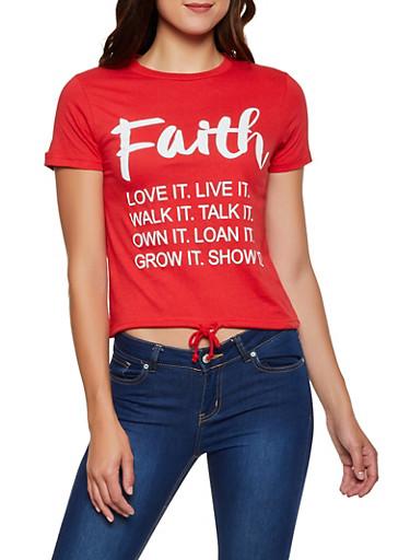 Faith Graphic Drawstring Hem Tee,RED,large