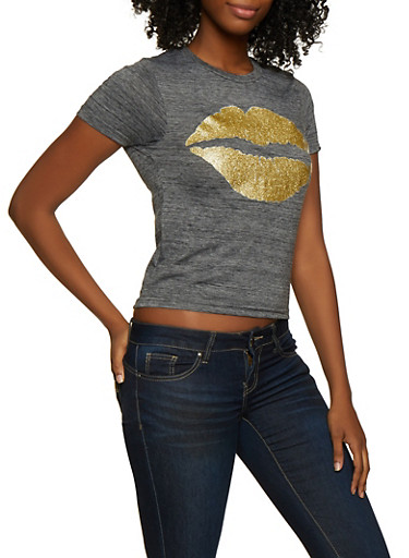 Glitter Lip Graphic Tee,CHARCOAL,large