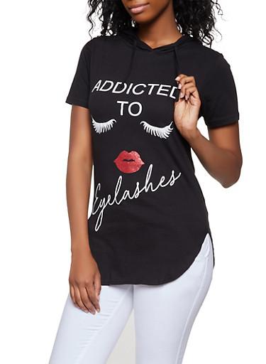 Addicted to Eyelashes Hooded Top,BLACK,large
