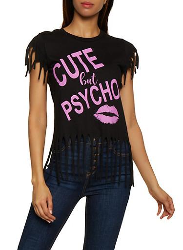 Cute But Psycho Fringe Tee,BLACK,large