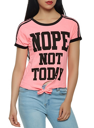 Nope Not Today Graphic Tee,PINK,large
