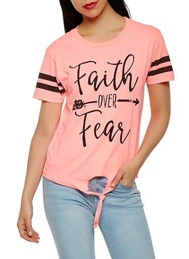 Faith Over Fear Graphic Tee,PINK,large