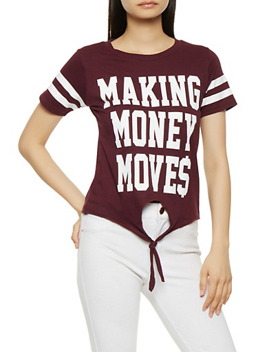 Making Money Moves Graphic Tee,PURPLE,large