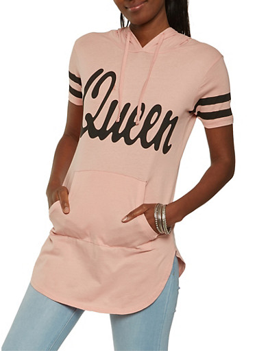 Queen Graphic Hooded Tunic Top,MAUVE,large