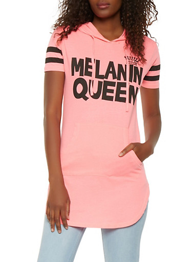 Melanin Queen Graphic Hooded Tunic Top,PINK,large