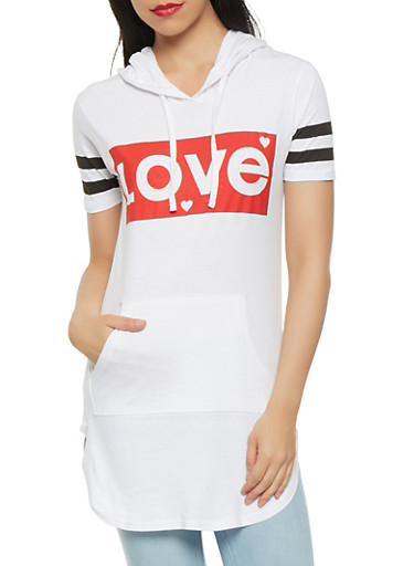 Love Graphic Hooded Tunic,WHITE,large