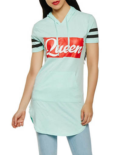 Queen Graphic Tunic Top,JADE,large