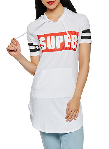 Super Graphic Hooded Tunic Top,WHITE,large
