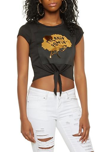 3D Foil Graphic Tie Front Tee,BLACK,large