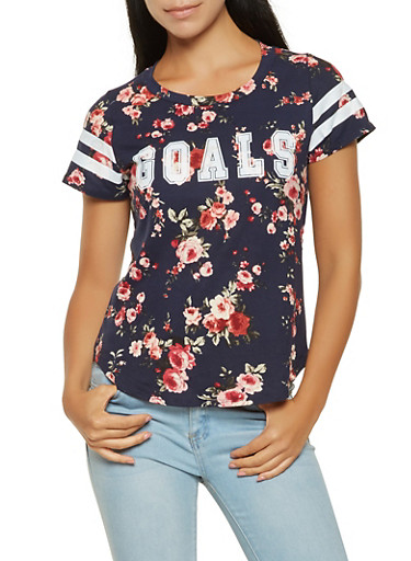 Goals Graphic Floral Tee,NAVY,large