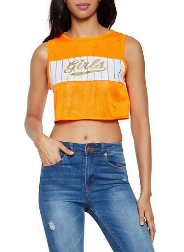 Girls Graphic Jersey Mesh Crop Top,NEON ORANGE,large