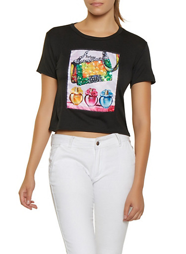 Sequin Perfume Patch Graphic Tee,BLACK,large