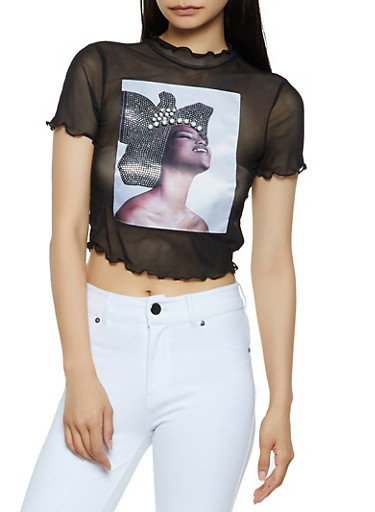 Mesh Patch Graphic Crop Top,BLACK,large