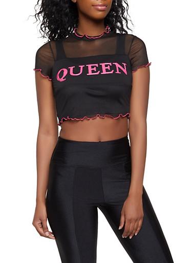 Queen 3D Graphic Mesh Crop Top,BLACK,large