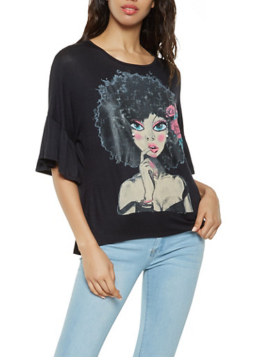 Face Graphic Bell Sleeve Top,BLACK,large