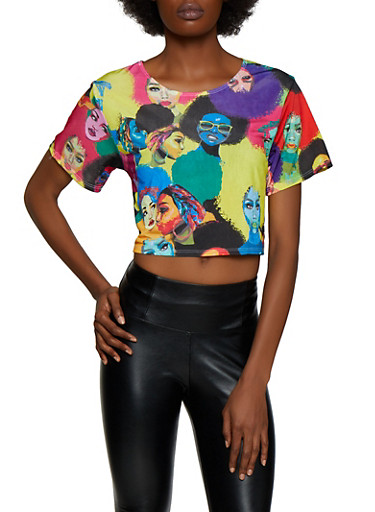 Afro Girl Print Cropped Tee,MULTI COLOR,large