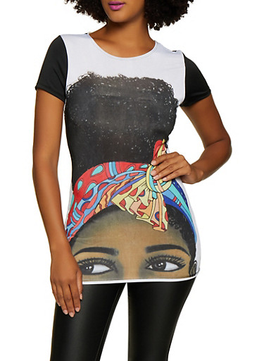 Color Block Face Graphic Tee,WHT-BLK,large