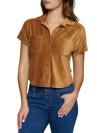 Button Front Corduroy Shirt,BROWN,large