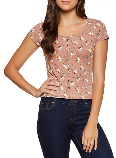 Floral Waffle Knit Tee,RUST,large