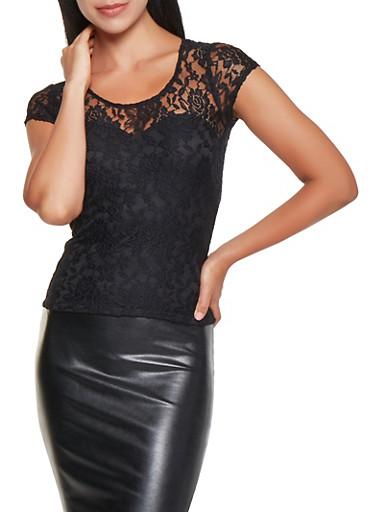 Floral Lace Top,BLACK,large