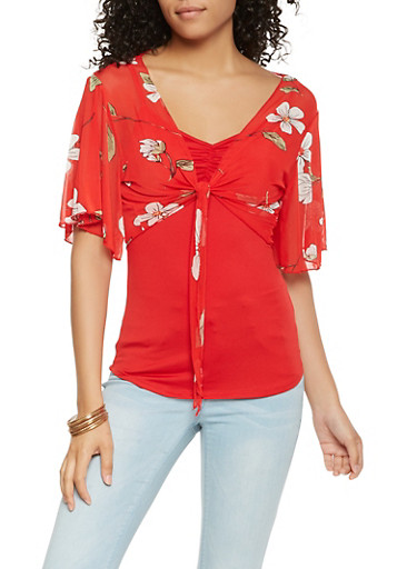 Cami with Floral Tie Front Overlay,RED,large