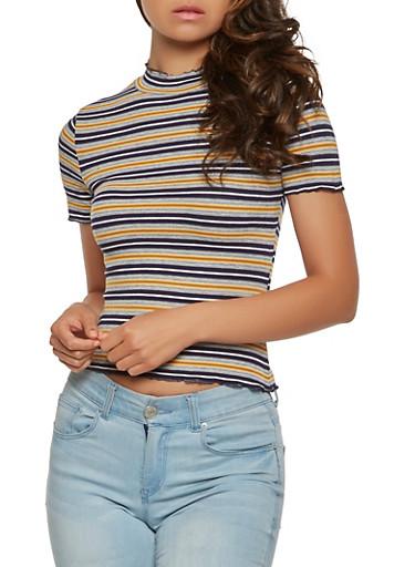 Striped Rib Knit Tee,NAVY,large