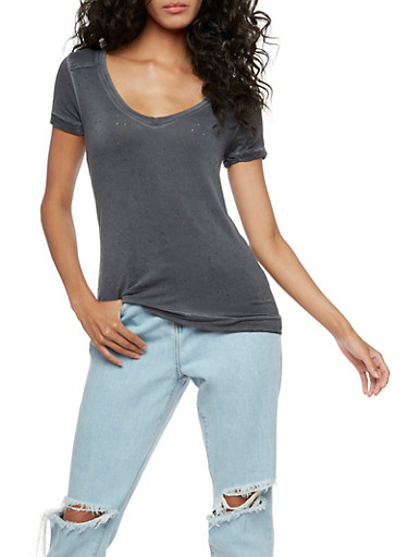 Distressed Short Sleeve Top,CHARCOAL,large