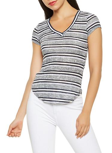 Striped Rib Knit Top,PURPLE,large