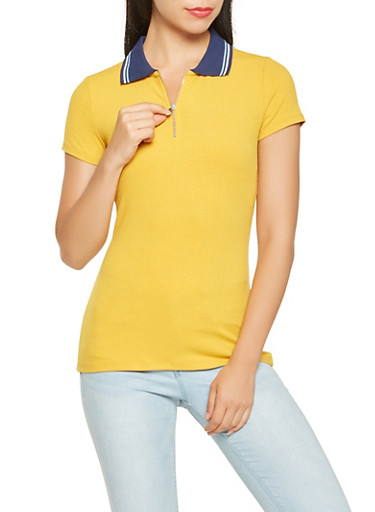 Ribbed Knit Zip Front Tee,NAVY,large