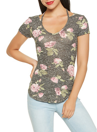 Cut Out Detail Printed Top,BLACK,large