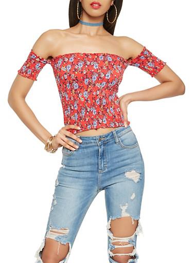 Floral Smocked Off the Shoulder Crop Top,RED,large