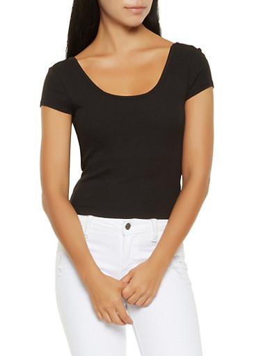 Padded Rib Knit Crop Top,BLACK,large